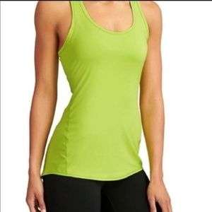 Athleta Chi Neon Yellow Racerback Fitted Tank S